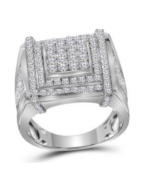 10kt White Gold Mens Round Diamond Square Cluster Ring 2-3/4 Cttw