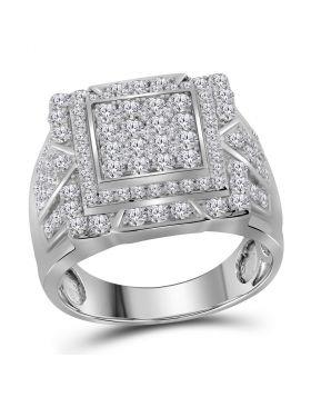 10kt White Gold Mens Round Diamond Square Frame Cluster Ring 2-1/4 Cttw
