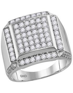 10kt White Gold Mens Round Diamond Square Framed Cluster Ring 2.00 Cttw