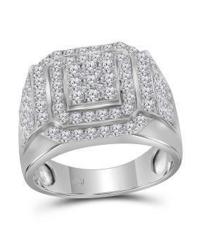 10kt White Gold Mens Round Diamond Square Frame Cluster Ring 2-1/2 Cttw