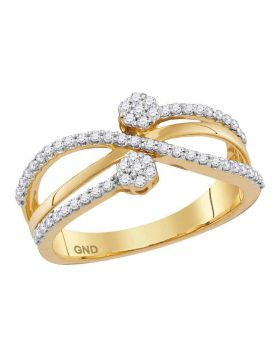 10kt Yellow Gold Womens Round Diamond Flower Cluster Crossover Band Ring 1/3 Cttw