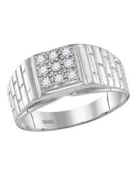10KT WHITE GOLD ROUND DIAMOND SQUARE CLUSTER BRICK RING 1/4 CTTW