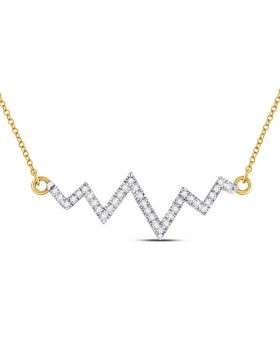 10kt Yellow Gold Womens Round Diamond Heartbeat Pendant Necklace 1/4 Cttw