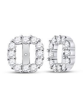 14kt White Gold Womens Round Diamond Square Frame Jacket Earrings Enhancer 3/4 Cttw