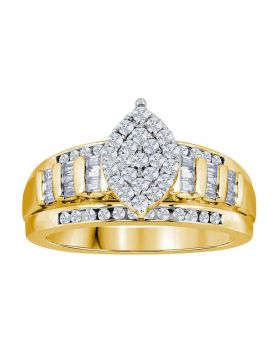 Yellow-tone Sterling Silver Womens Round Diamond Oval Cluster Bridal Wedding Engagement Ring 1/2 Cttw