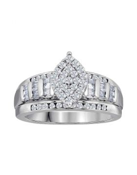 10kt White Gold Womens Diamond Oval Cluster Bridal Wedding Engagement Ring 2.00 Cttw