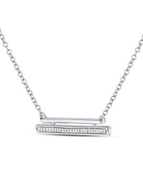 10kt White Gold Womens Round Diamond Double Horizontal Bar Necklace 1/12 Cttw