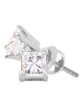14kt White Gold Unisex Princess Diamond Solitaire Stud Earrings 1/2 Cttw
