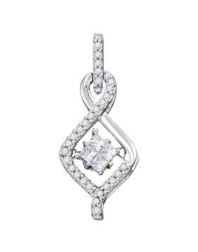 10kt White Gold Womens Princess Diamond Moving Twinkle Cluster Teardrop Pendant 1/5 Cttw