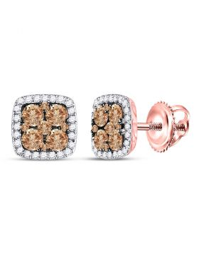 14kt Rose Gold Womens Round Brown Color Enhanced Diamond Square Cluster Earrings 1.00 Cttw