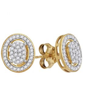 10kt Yellow Gold Womens Round Diamond Oval Framed Cluster Screwback Earrings 1/4 Cttw