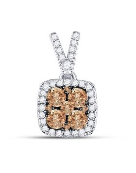 14kt White Gold Womens Round Brown Color Enhanced Diamond Square Cluster Pendant 1/2 Cttw