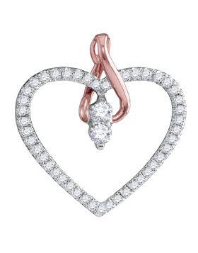 14kt White Gold Womens Round Diamond 2-stone Heart Pendant 1/4 Cttw