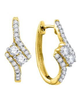 14kt Yellow Gold Womens Round Diamond 2-stone Hearts Together Bypass Hoop Earrings 1/2 Cttw