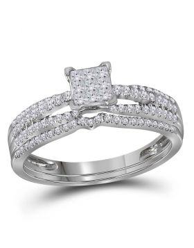 14kt White Gold Womens Princess Diamond Cluster Bridal Wedding Engagement Ring Band Set 1/2 Cttw