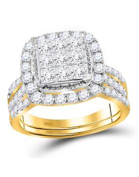 14kt Yellow Gold Womens Princess Diamond Halo Bridal Wedding Engagement Ring Band Set 1-3/4 Cttw