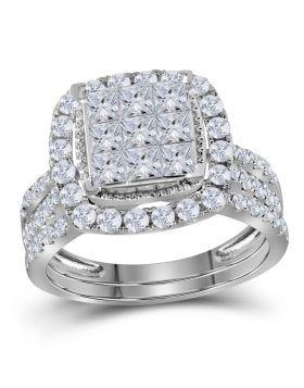 14kt White Gold Womens Princess Diamond Halo Bridal Wedding Engagement Ring Band Set 1-3/4 Cttw