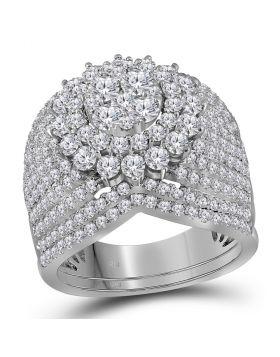 14kt White Gold Womens Round Diamond Bridal Wedding Engagement Ring Band Set 3.00 Cttw