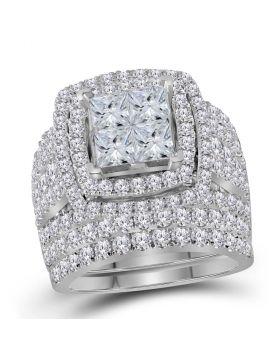 14kt White Gold Womens Princess Diamond Bridal Wedding Engagement Ring Band Set 4-1/2 Cttw