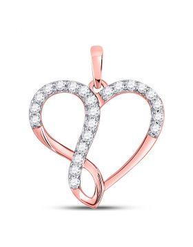10kt Rose Gold Womens Round Diamond Heart Infinity Pendant 3/8 Cttw