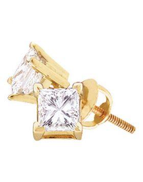 14kt Yellow Gold Unisex Princess Diamond Solitaire Stud Earrings 1-1/2 Cttw