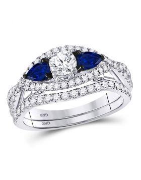 14kt White Gold Womens Round Diamond Blue Sapphire Bridal Wedding Ring Set 1-3/8 Cttw