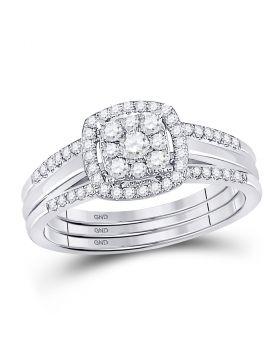 10kt White Gold Womens Round Diamond 3-Piece Bridal Wedding Ring Set 1/2 Cttw