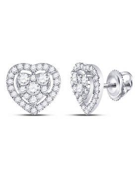 10kt White Gold Womens Round Diamond Heart Cluster Earrings 3/4 Cttw