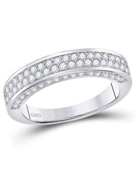 14kt White Gold Womens Round Diamond 2-Row Wedding Band 1.00 Cttw