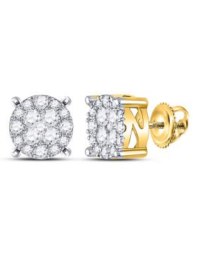 14kt Yellow Gold Womens Round Diamond Circle Frame Cluster Earrings 1.00 Cttw