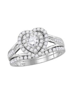 14kt White Gold Womens Round Diamond Heart Bridal Wedding Engagement Ring Band Set 1.00 Cttw