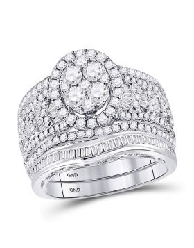 14kt White Gold Womens Round Diamond Oval Bridal Wedding Engagement Ring Band Set 2.00 Cttw