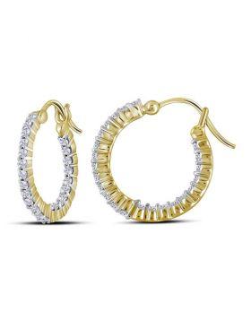 14kt Yellow Gold Womens Round Diamond Single Row Hoop Earrings 1/2 Cttw