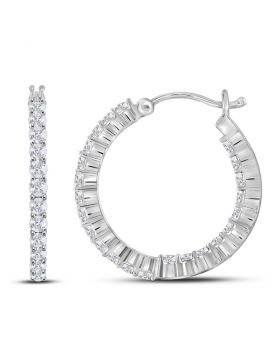 14kt White Gold Womens Round Diamond Single Row Hoop Earrings 1-1/2 Cttw