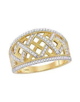 10kt Yellow Gold Womens Round Diamond Lattice Fashion Band Ring 1/3 Cttw