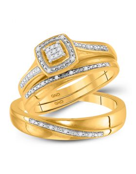 10kt Yellow Gold His & Hers Round Diamond Square Cluster Matching Bridal Wedding Ring Band Set 1/12 Cttw