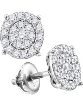 14kt White Gold Womens Round Diamond Cindys Dream Concentric Cluster Stud Earrings 2.00 Cttw