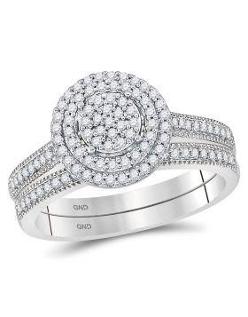 10kt White Gold Womens Round Diamond Cluster Milgrain Bridal Wedding Engagement Ring Band Set 1/3 Cttw