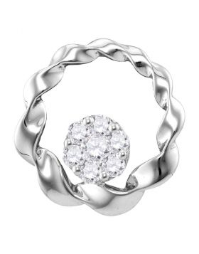 10kt White Gold Womens Round Diamond Circle Cradled Cluster Pendant 1/4 Cttw