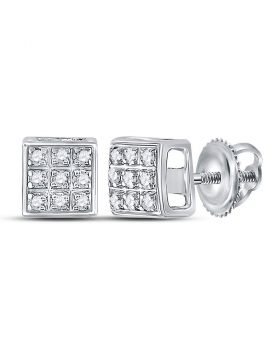 10kt White Gold Womens Round Diamond Square Cluster Earrings 1/20 Cttw