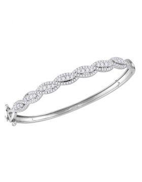 14kt White Gold Womens Round Diamond Cascade Twist Bangle Bracelet 1-3/4 Cttw