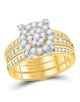 14kt Yellow Gold Womens Round Diamond Bridal Guard Enhancer Wedding Ring Set 1-1/2 Cttw