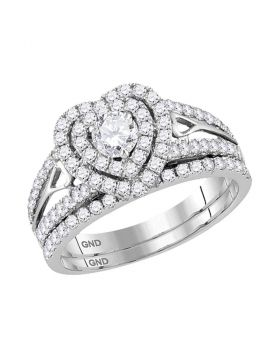 14kt White Gold Womens Round Diamond Heart Bridal Wedding Engagement Ring Band Set 1-1/5 Cttw