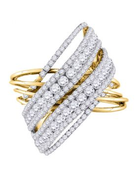 14kt Yellow Gold Womens Round Diamond Crossover Open Strand Cocktail Ring 2-1/2 Cttw