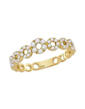 10kt Yellow Gold Womens Round Diamond Circles Stackable Band Ring 1/3 Cttw