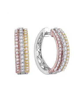 10kt Tri-Tone Gold Womens Round Diamond Hoop Earrings 1/2 Cttw