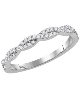 14kt White Gold Womens Round Diamond Woven Twist Stackable Band Ring 1/4 Cttw