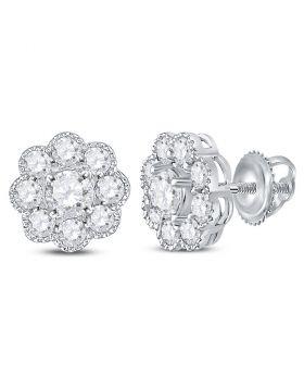 14kt White Gold Womens Round Diamond Flower Cluster Stud Earrings 1.00 Cttw