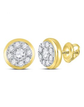 14kt Yellow Gold Womens Round Diamond Cluster Stud Earrings 1.00 Cttw