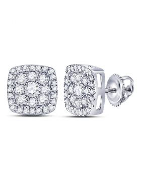 14kt White Gold Womens Round Diamond Square Cluster Earrings 1.00 Cttw